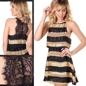 Dresses & Skirts - LACE BACK DRESS-GOLD AND BLACK LACE DRESS